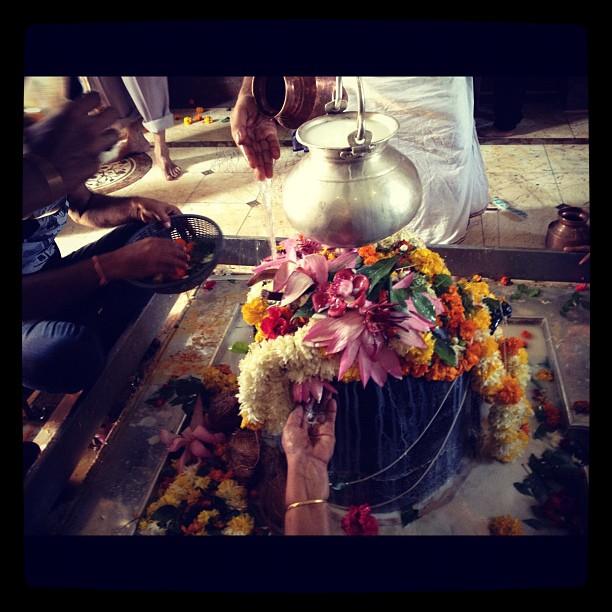 Hindu temple - offering milk