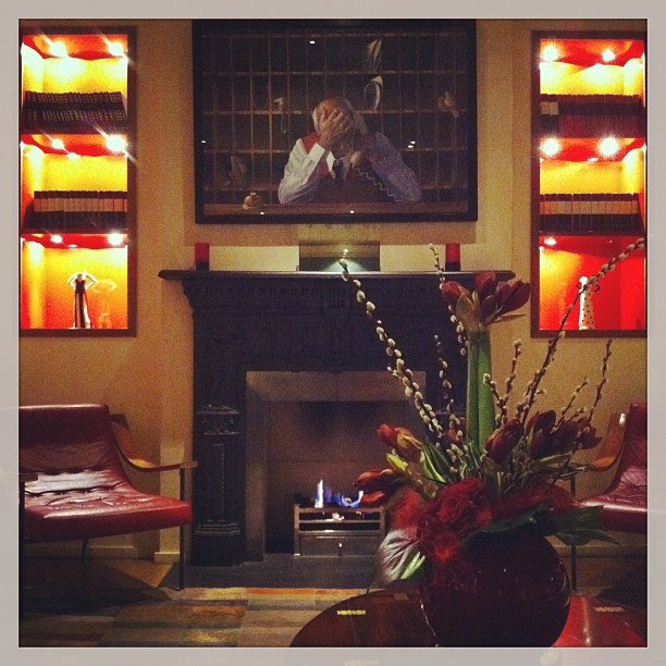 Cozy fireplace at Sloane Square Hotel