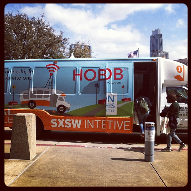 {SXSW} Picked up our badges at Palmer Events Center & a shuttle arrived just in time!