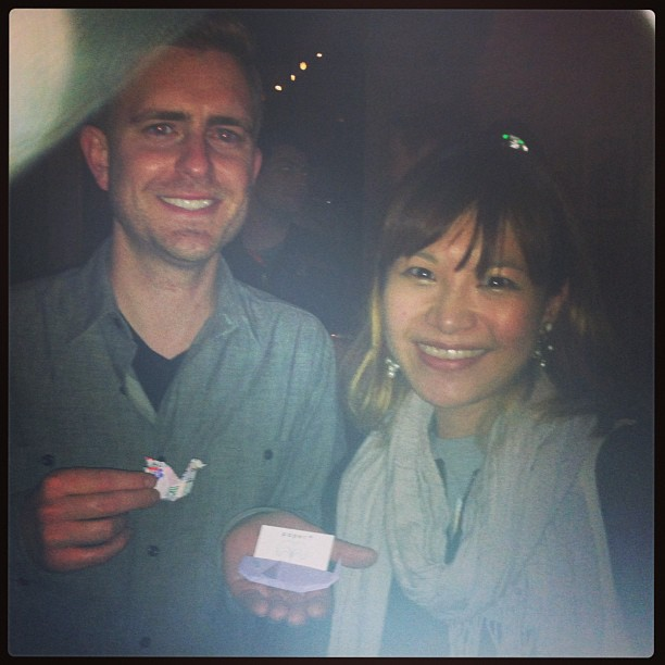 { #SXSW2013} At the full-capacity B-Reel party! In the sea of people, miraculously met up with Johnathan Wright at Shortlist who kindly posed for a photo with our origami souvenir of paper.+ intro card☆