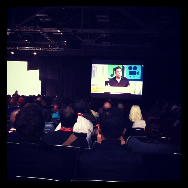 """{ #SXSW2013} Elon Musk (SpaceX) keynote!! Starting off with this """"most exciting entrepreneur on the planet"""" talking about his failed rocket launches."""