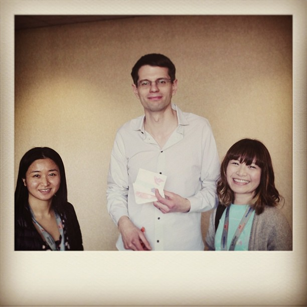 { #SXSW2013} Spectacular session on Analog Souvenir! Ryan Bigge (Nurun, Toronto) holding paper.+ whales & animal friends ☆
