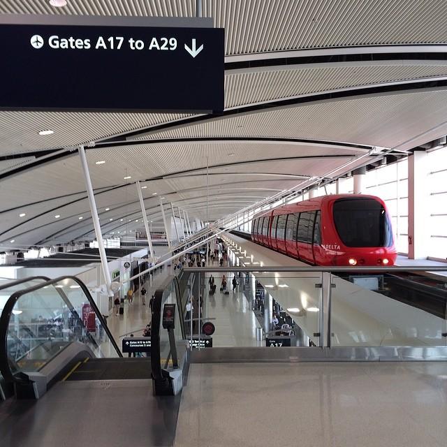 tram inside Detroit airport