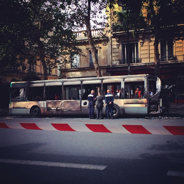 Bus after fire in Paris