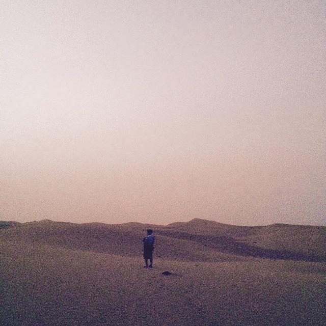 Sunrise in the sand dunes of Dubai.
