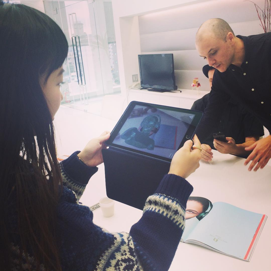 Mayu testing cool AR :) Thank you for visiting Tom @TheMill and Andy!!!