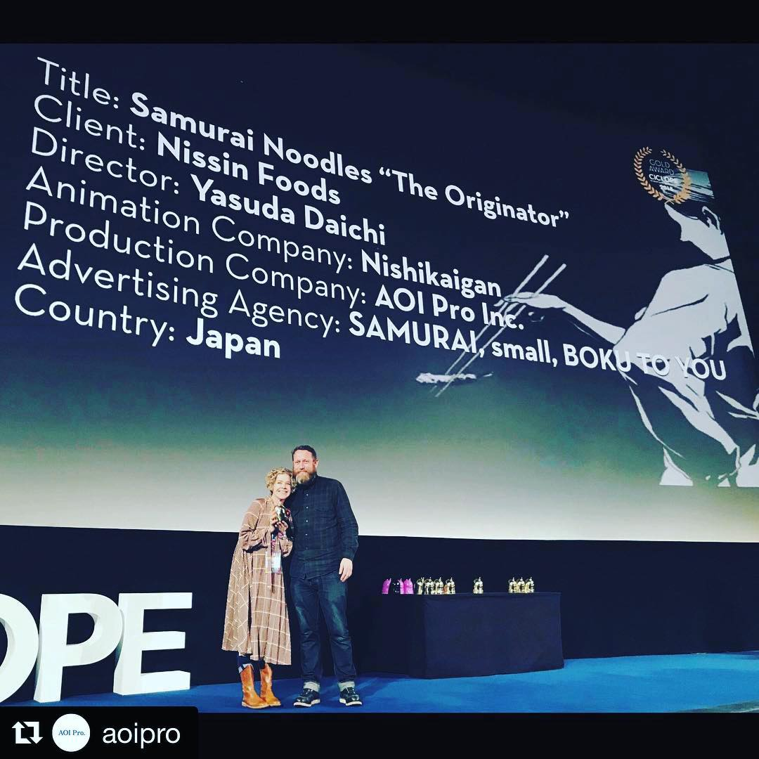 """Congrats to the team!!! @aoipro ・・・ Julie Thomas receiving the Animation GOLD trophy for """"SAMURAI NOODLES -THE ORIGINATOR-"""" at the CICLOPE Festival 2018 awards ceremony  ・・・  #"""