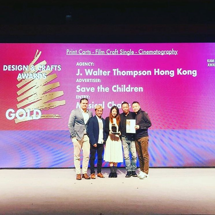 """Congratulations @directorsthinktank for winning 1xGold🥇 and 3xSilver 🥈at the Kam Fan Awards 2018 for Save The Children Hong Kong """"Musical Chairs""""!!"""